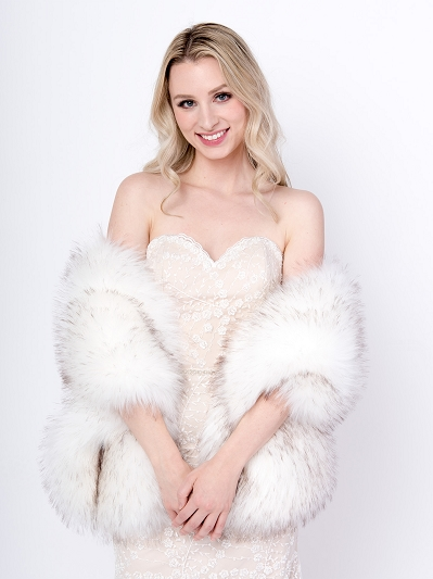 White faux fur wrap B005-white-gray-tips