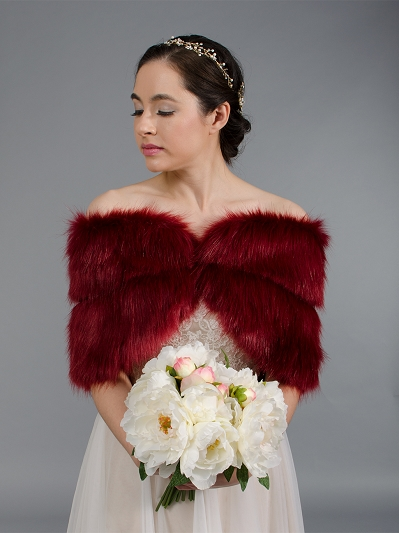 Wine red faux fur wrap bridal stole shawl