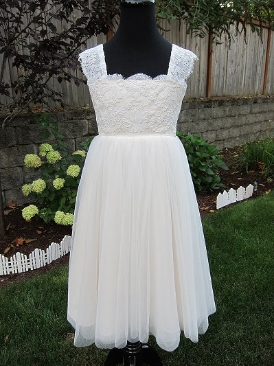 Champagne flower girl lace dress 003