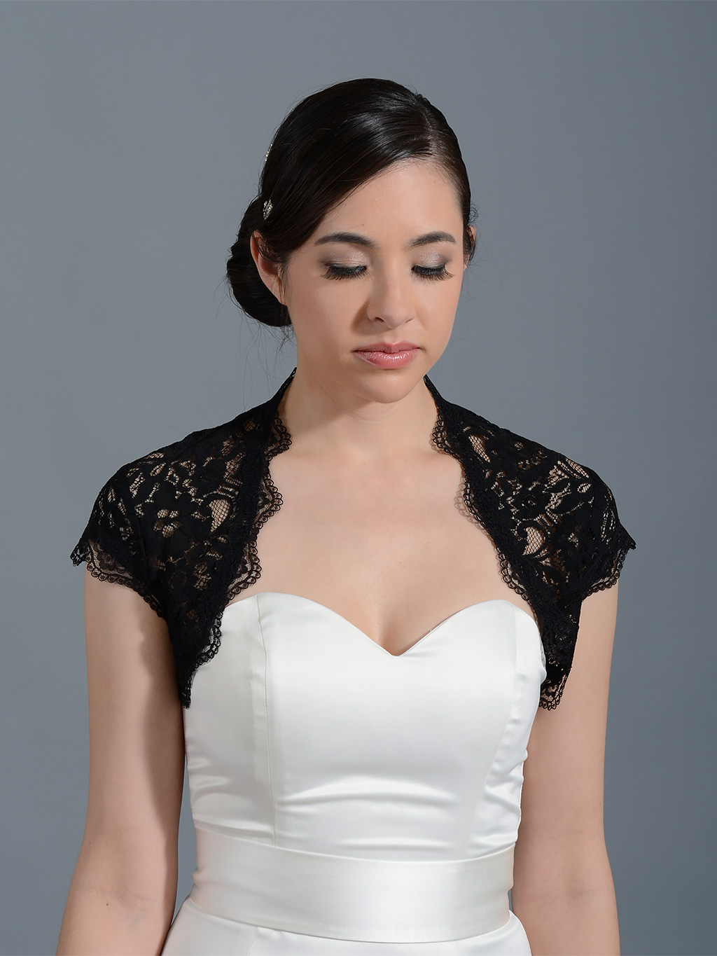 Black cap sleeve bridal lace bolero jacket -- Lace_041Black