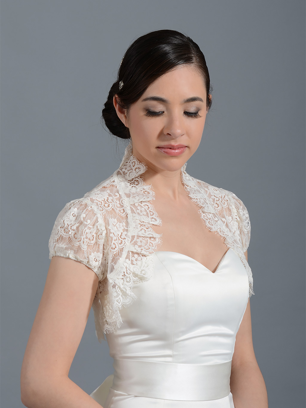 Ivory short sleeve corded lace wedding bolero Lace_075