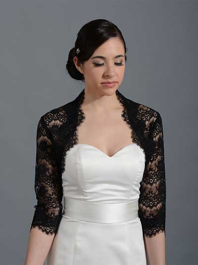 Black 3/4 sleeve bridal lace wedding bolero jacket 051n