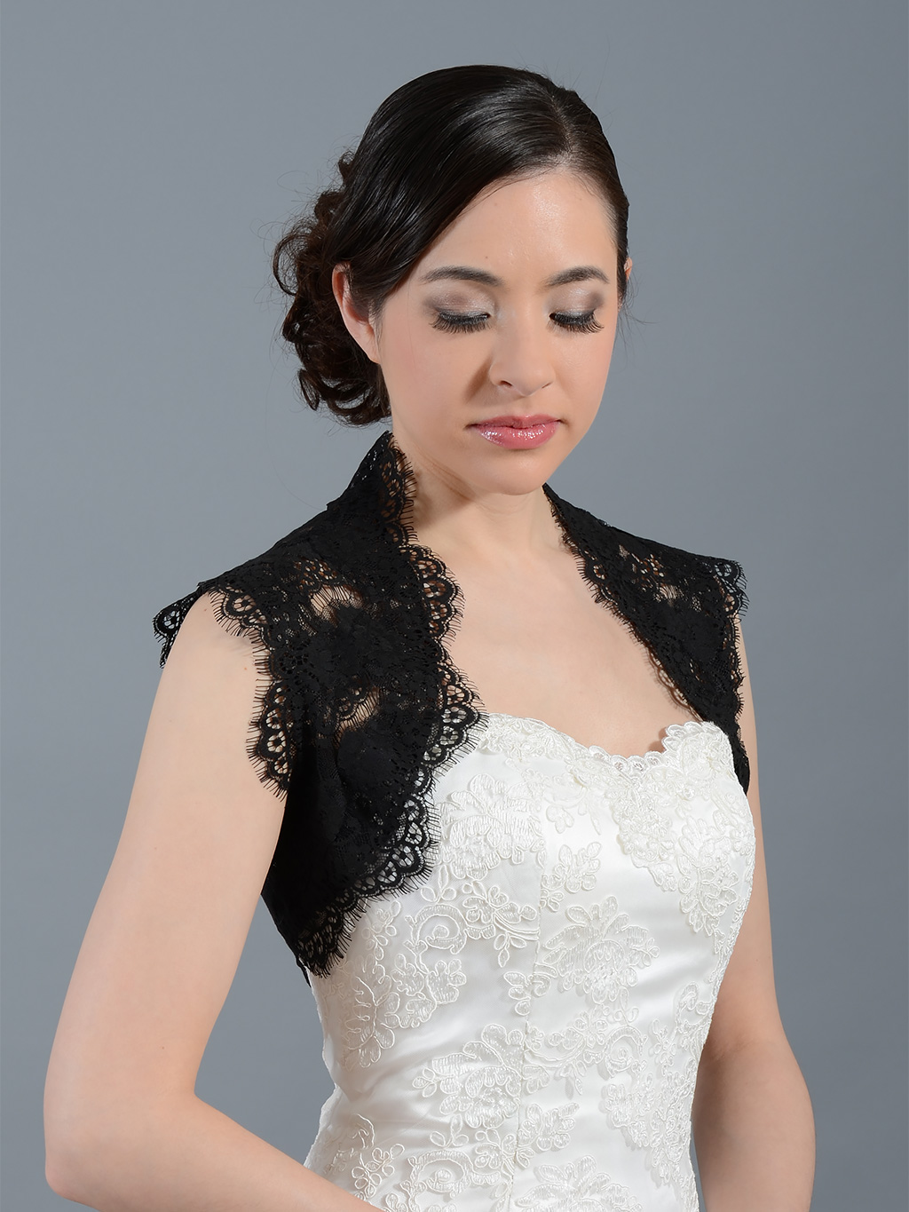 Black sleeveless bridal lace bolero jacket Lace_061_Black