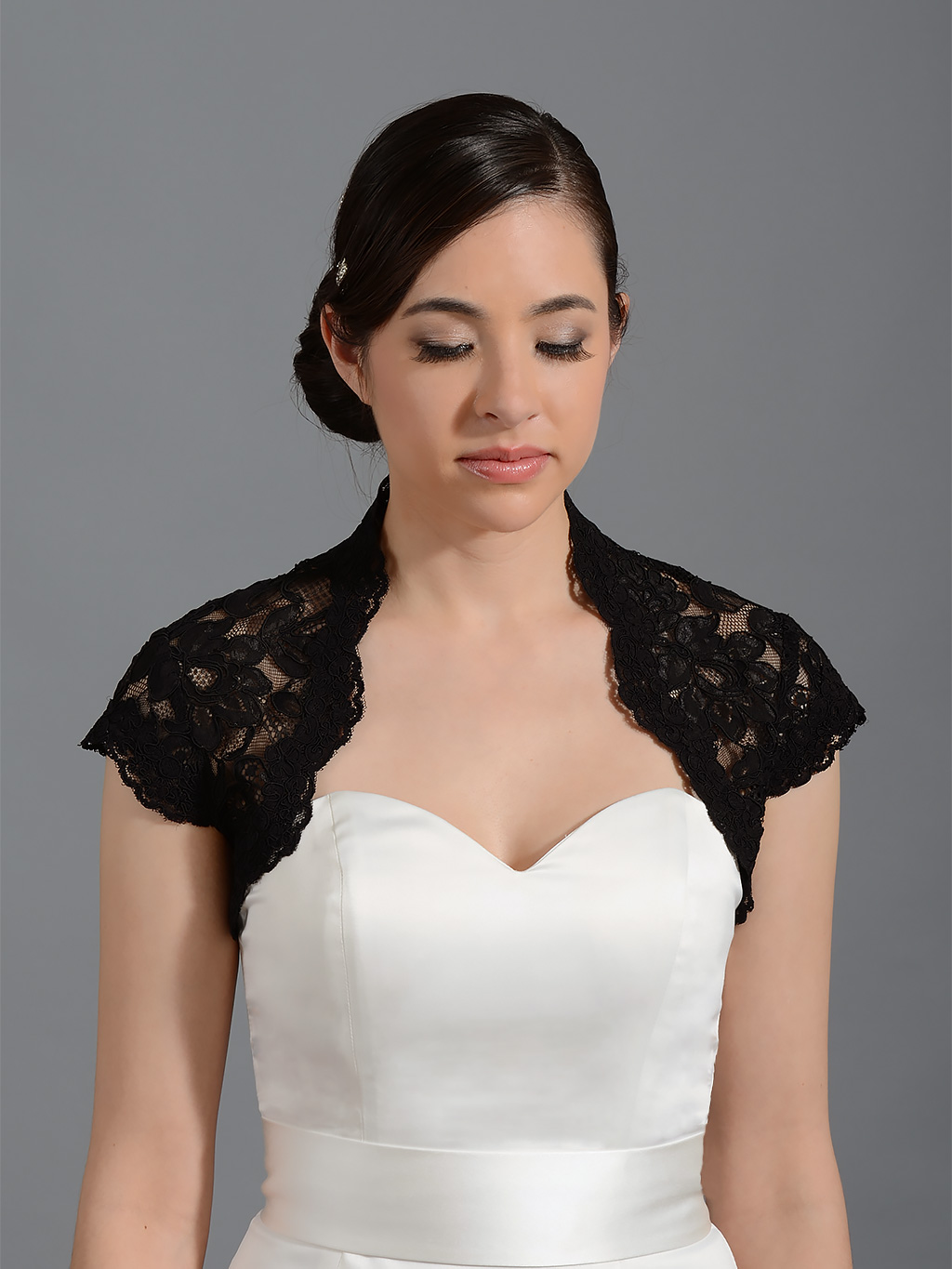 Black cap sleeve bridal alencon lace bolero jacket Lace_062