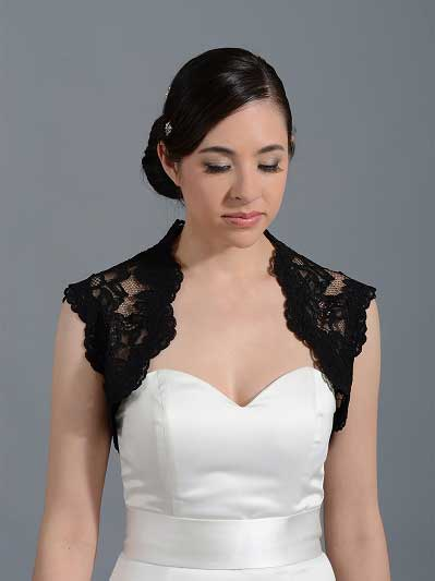 Black sleeveless bridal alencon lace bolero jacket Lace_064