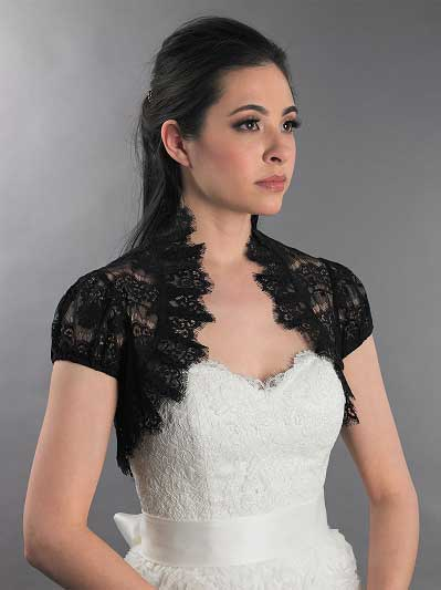 Black short sleeve corded lace wedding bolero Lace_075