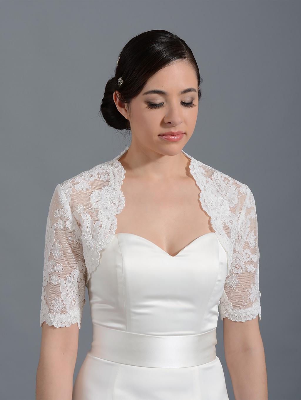 Elbow Sleeve Bridal Alencon Lace Bolero Jacket Lace 078