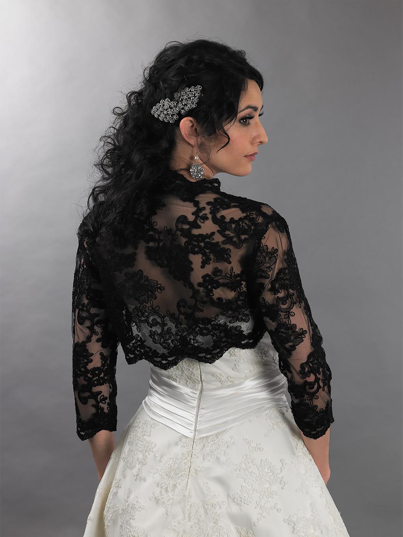 Black 3 4 Sleeve Bridal Re Embroidered Lace Wedding Bolero