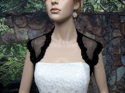 Black sleeveless bridal dot lace wedding bolero jacket Lace_082_Black