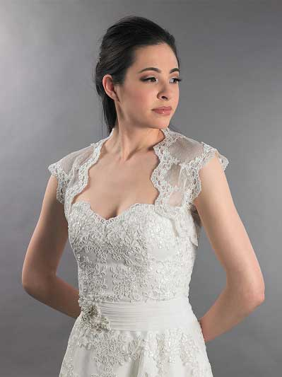 Ivory sleeveless bridal dot lace wedding bolero jacket 082