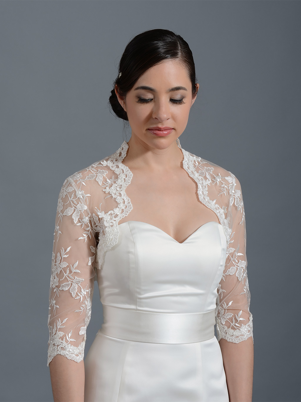 Ivory 3/4 sleeve bridal embroidered lace wedding jacket