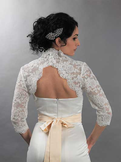 3/4 sleeve alencon lace bolero with keyhole back - Lace_094