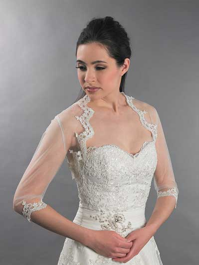 3/4 sleeve bridal lace bolero jacket Lace_095