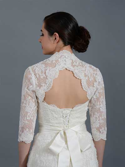 Ivory 3/4 sleeve alencon lace bolero with keyhole back - Lace_096