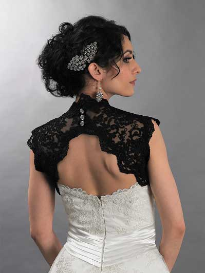 Black sleeveless bridal keyhole back alencon lace bolero