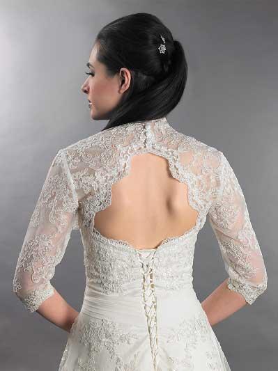 Front open Black Alencon Lace Wedding jacket Bridal Bolero WJ005 d340f43a8a12