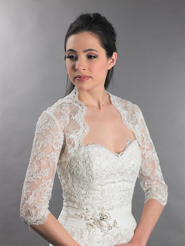 3 4 Sleeve Bridal Lace Wedding Bolero Jacket Lace 080