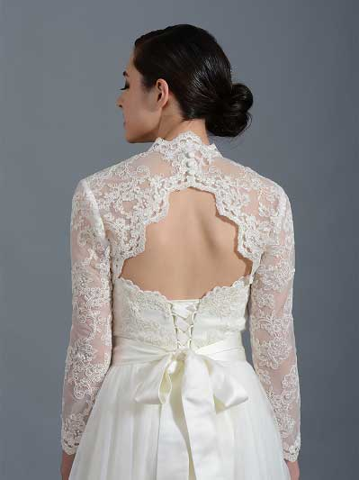 Long sleeve alencon lace bolero with keyhole back - Lace_100