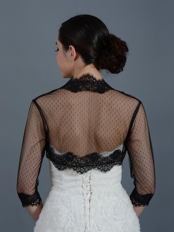 Black 3 4 Sleeve Bridal Dot Lace Wedding Bolero Jacket