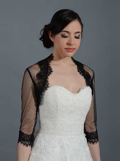Black 3/4 sleeve bridal dot lace wedding bolero jacket