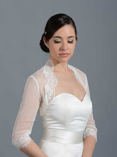 Ivory 3/4 sleeve bridal dot lace wedding bolero jacket