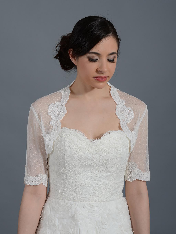 Ivory Elbow Length Sleeve Bridal Dot Lace Wedding Bolero