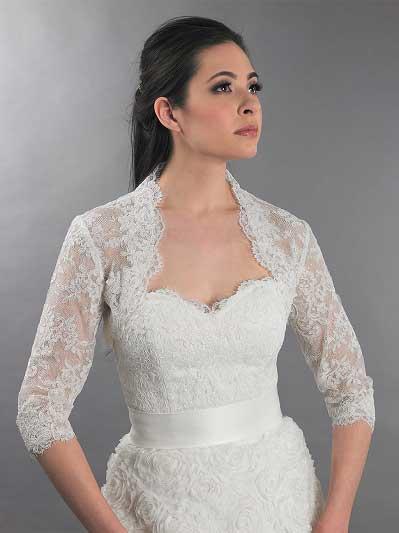 f096861c93c 3 4 sleeve ivory bridal alencon lace bolero jacket - Lace 112