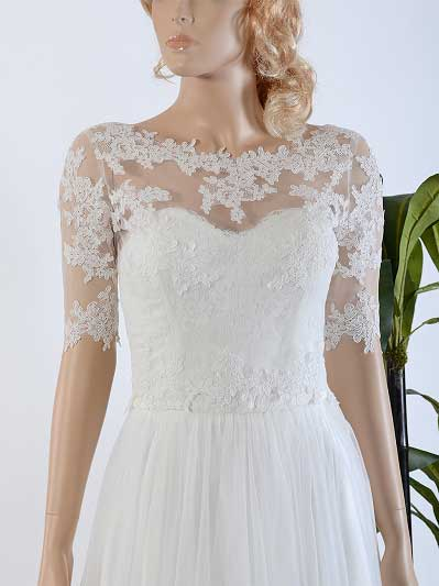Bridal bolero lace wedding dress topper WJ020