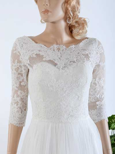 Bridal bolero lace wedding dress topper WJ021