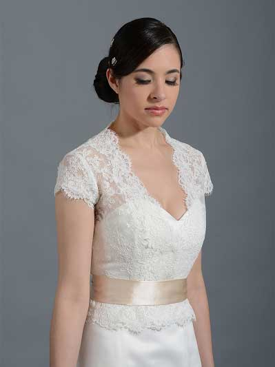 Front open Ivory Alencon Lace Wedding jacket Bridal Bolero WJ001