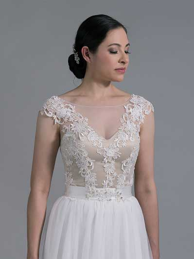 Bridal bolero lace wedding dress topper WJ023