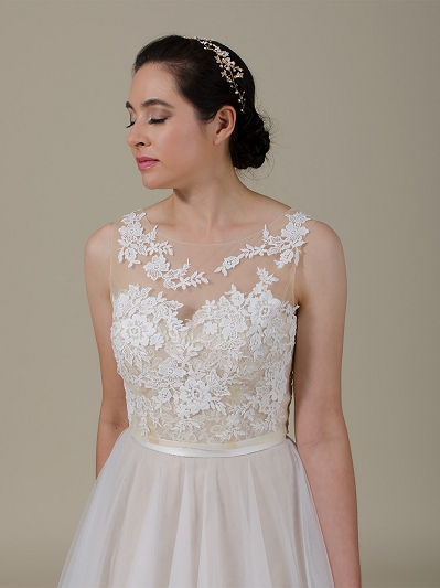 Sleeveless Lace Bolero Wedding jacket wedding dress topper WJ038