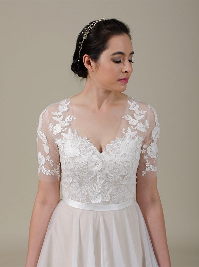 Front open lace bolero with elbow length sleeves wedding dress topper WJ040