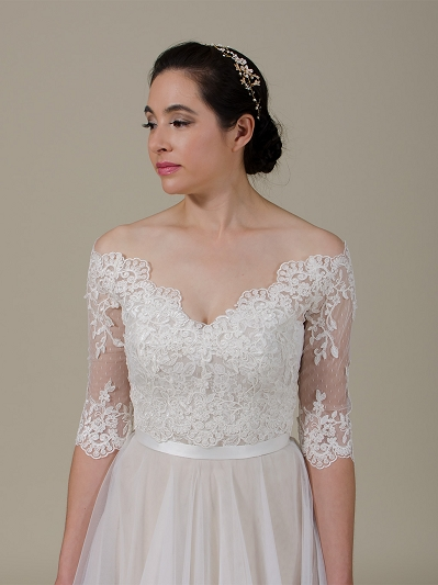Off-Shoulder Lace Bolero Wedding jacket WJ042
