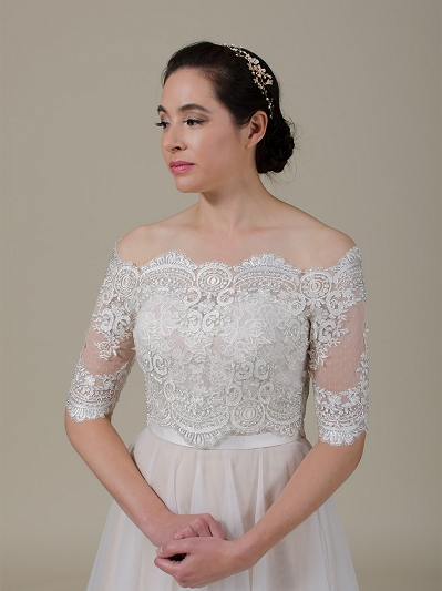 Off-Shoulder Lace Bolero Wedding jacket wedding dress topper WJ043
