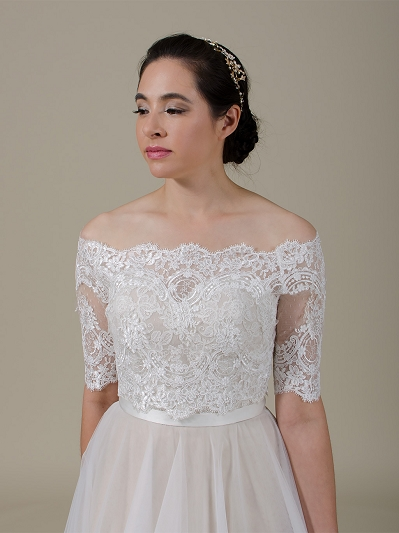Off-Shoulder Lace Bolero Wedding jacket WJ044