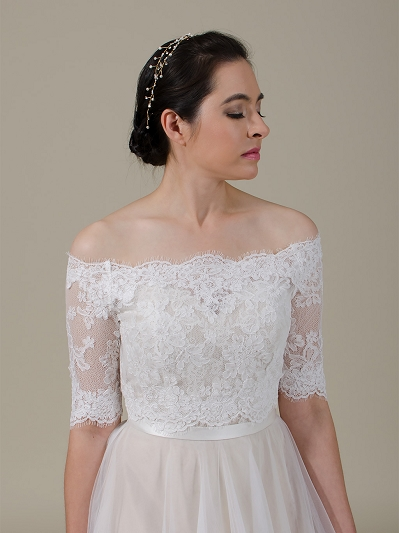 Off-Shoulder Lace Bolero Wedding jacket wedding dress topper WJ045