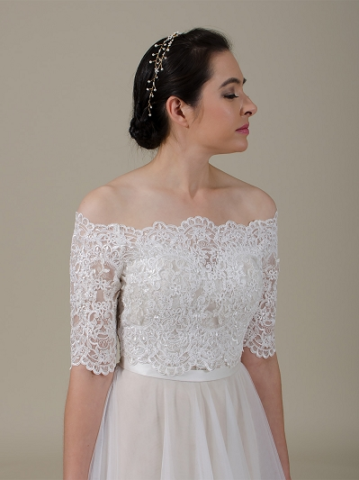 Off-Shoulder Lace Bolero Wedding jacket wedding dress topper WJ046