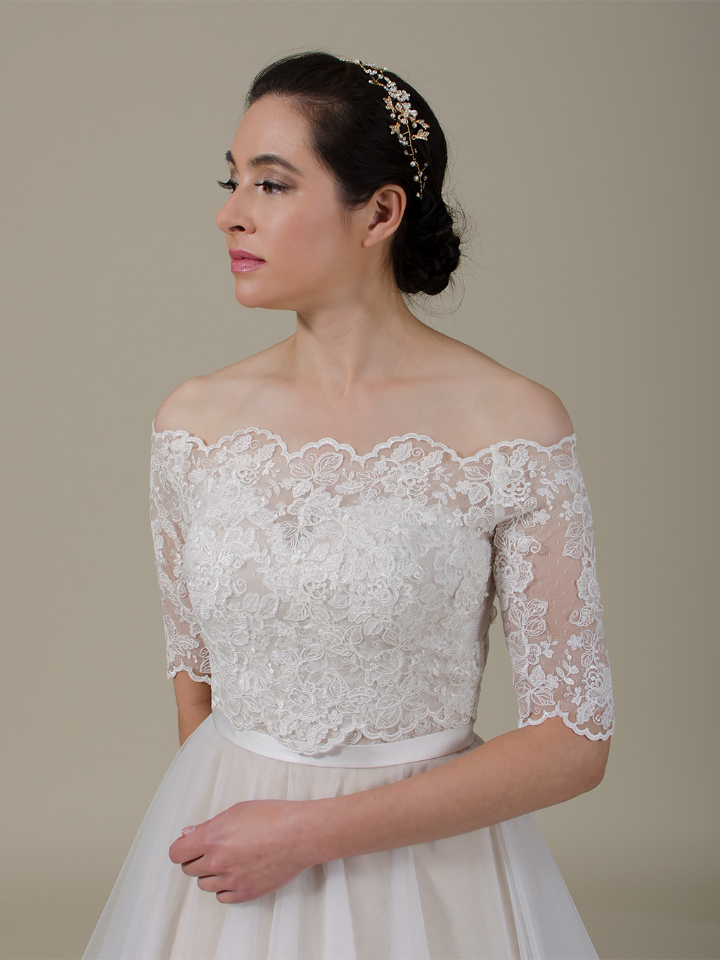 Off-Shoulder re-embroidered Lace Bolero wedding dress topper WJ048