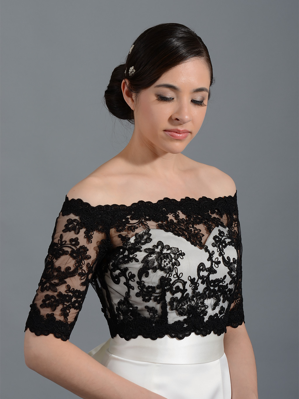 Copyright 2018 Tulip Bridal. All Rights Reserved. Custom Made 2017 Black  Wedding Bridal Bolero Jacket Cap Wrap Shrug Cheap Front Open Lace Applique 1fda2d5a0ce6
