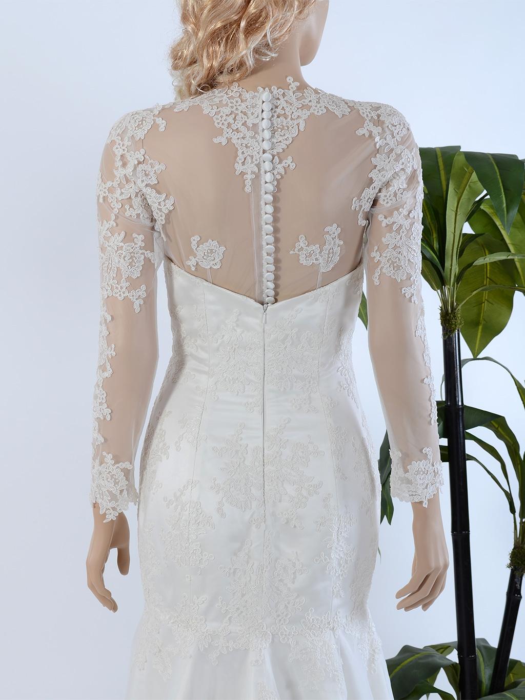 Long Sleeve Illusion Tulle Lace Wedding jacket WJ030