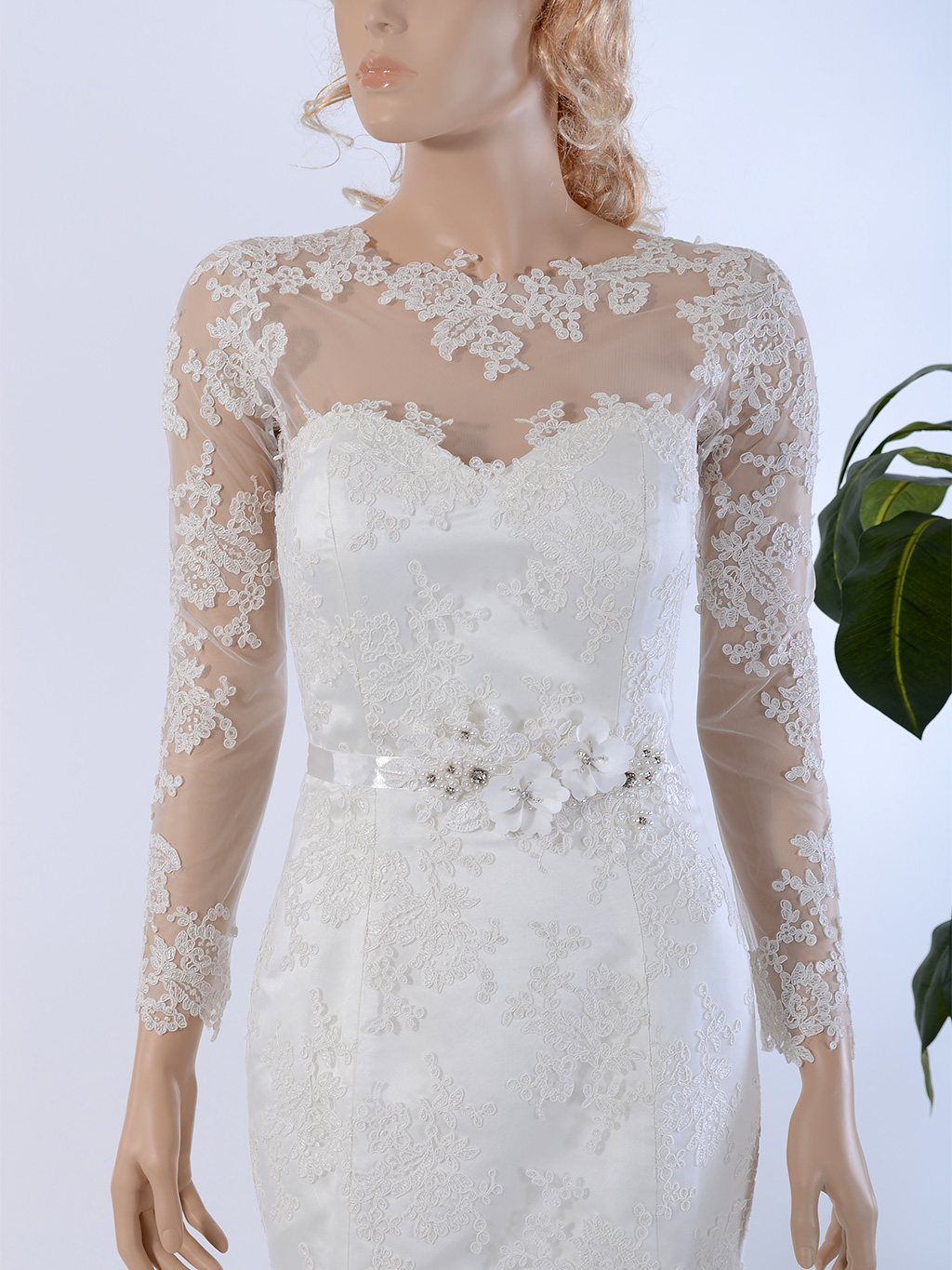 Long Sleeve Illusion Tulle Lace Wedding Jacket wedding dress topper WJ030