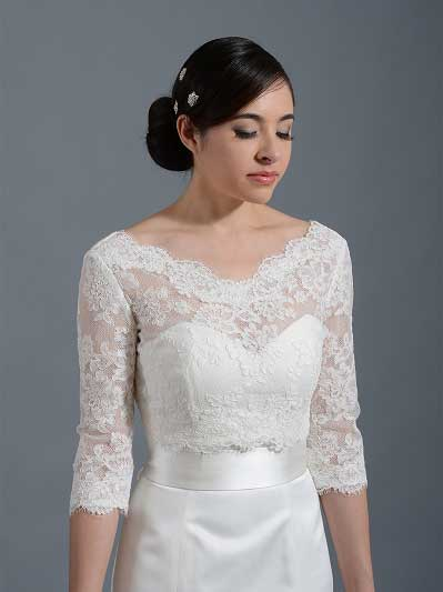 V-neck Alencon Lace Bolero Wedding jacket