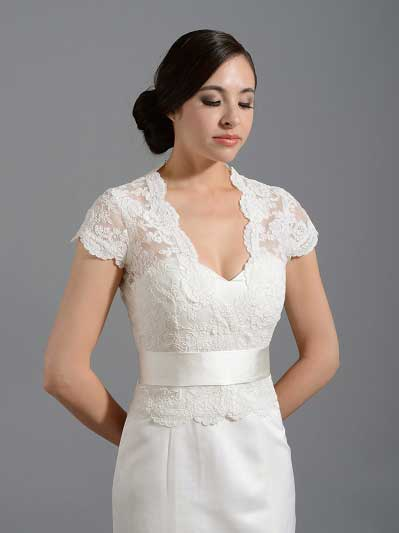 Front open Ivory Alencon Lace Wedding jacket Bridal Bolero