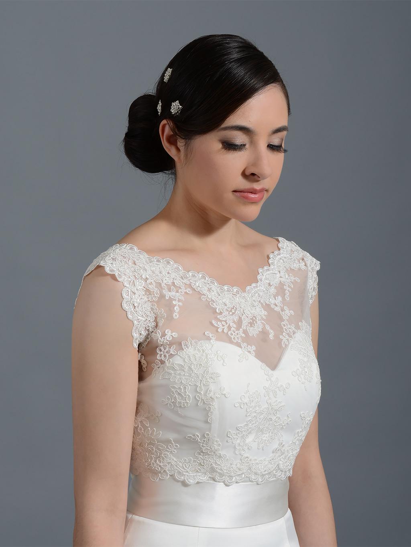 V Neck Re Embroidered Lace Bolero Wedding Jacket