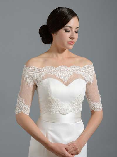Off-Shoulder dot Lace Bolero Wedding jacket wedding dress topper WJ007