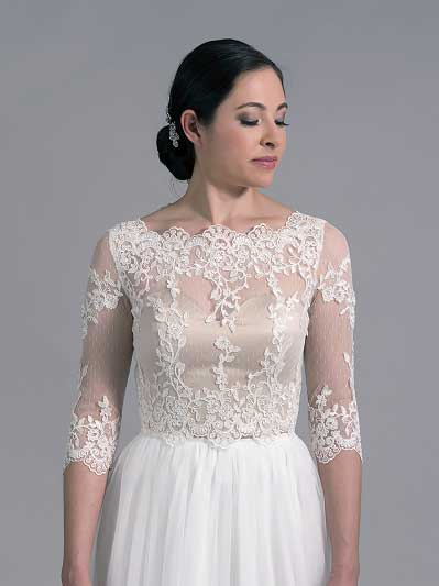 Bridal bolero lace wedding dress topper WJ022