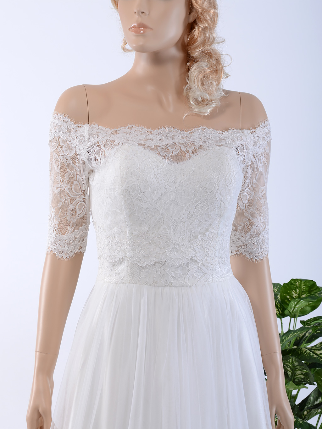 Off-Shoulder Alencon Lace Bolero Wedding jacket wedding dress topper WJ025