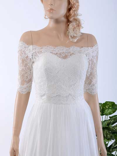 Off-Shoulder Alencon Lace Bolero Wedding jacket WJ025