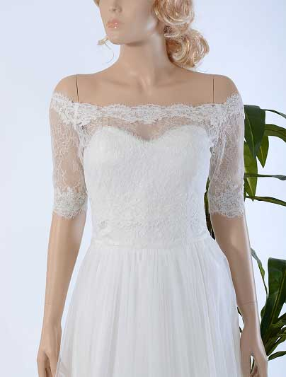 Off-Shoulder Alencon Lace Bolero Wedding jacket wedding dress topper WJ026